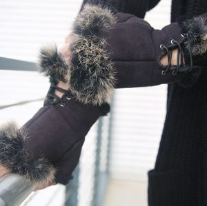 Faux Fur Cuff Fingerless Gloves Lace Up Winter